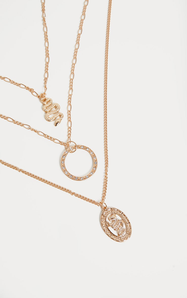 Gold Snake Charm Layering Chain Necklace 4