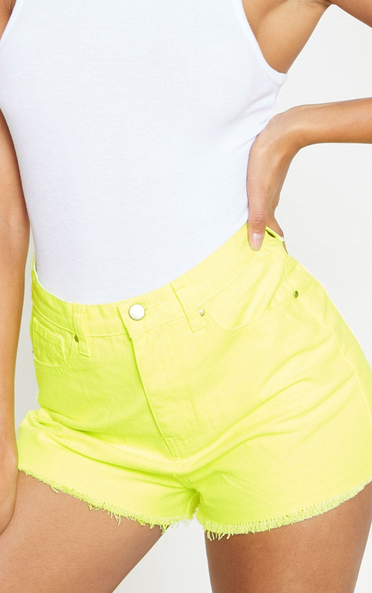 Neon Yellow Denim Short  6