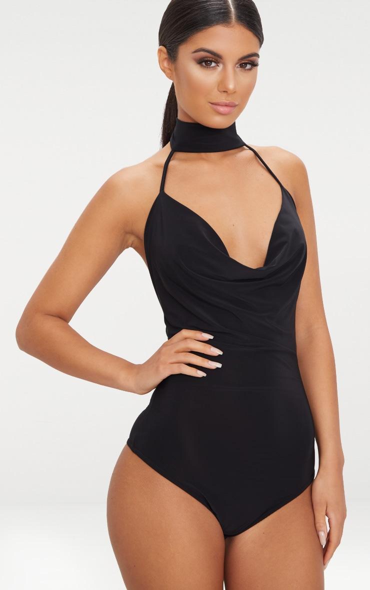 Black Cowl Neck Slinky Thong Bodysuit  1