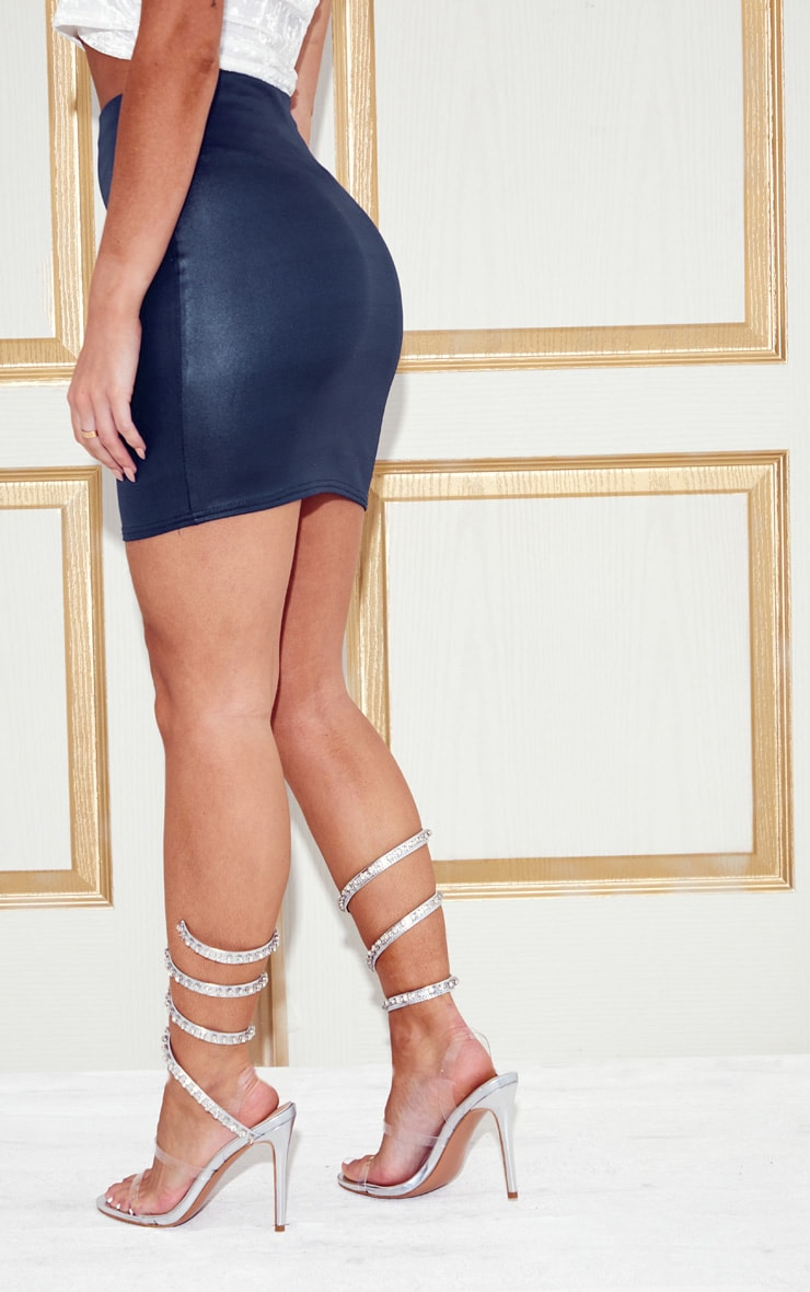 Navy Wet Look Mini Skirt 4