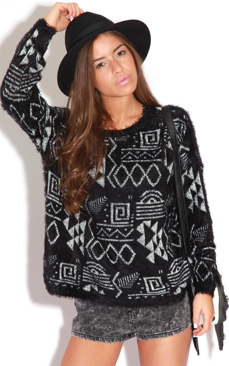 Sian Black And Grey Fluffy Mohair Aztec Print Jumper 1