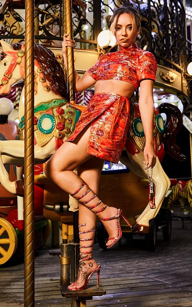 Red Oriental Wrap Detail Mini Skirt 1