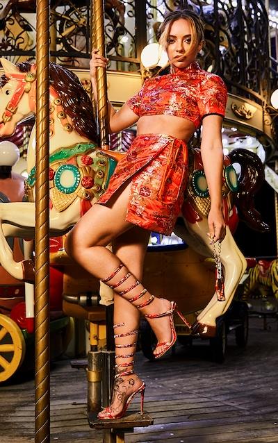 Red Oriental Wrap Detail Mini Skirt