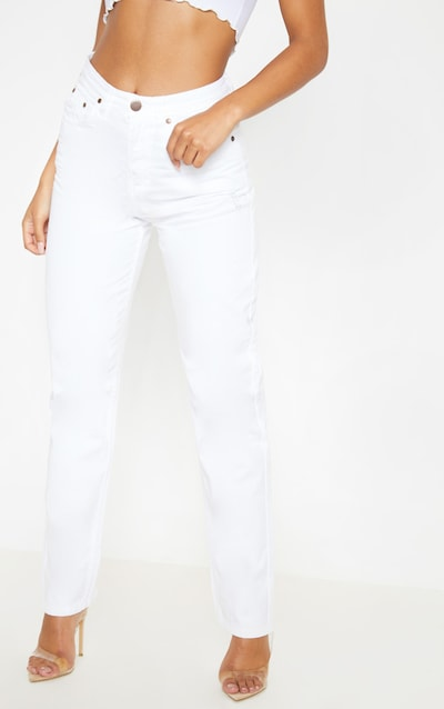 White High Waist Mom Jeans