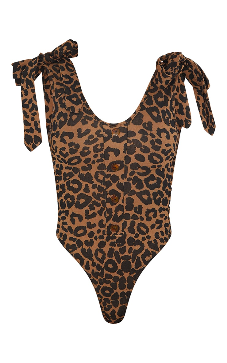 Tan Leopard Print Tie Detail Bodysuit 5