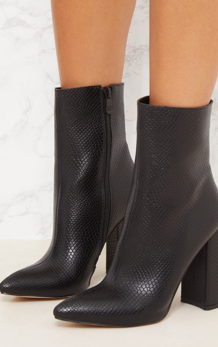 Black High Point Ankle Boot 6