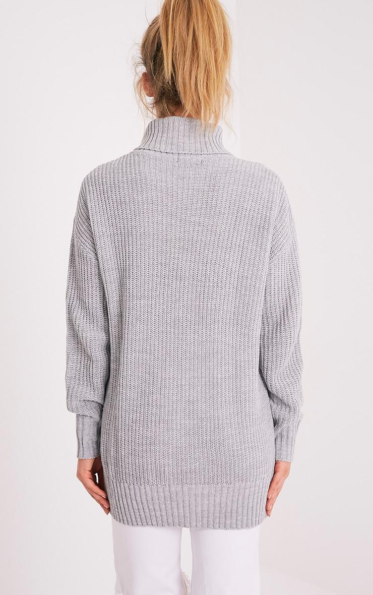 Zora Grey Oversized Turtle Neck Knitted Jumper 2