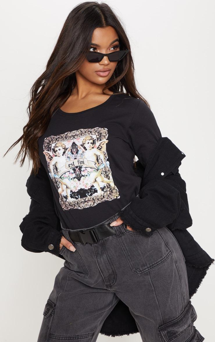Black Cupid Print Long Sleeve T Shirt 1