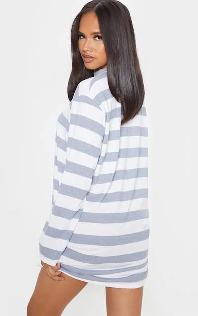 Grey Stripe Long Sleeve Oversized Boyfriend T Shirt Dress