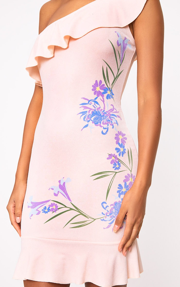 Nude Printed One Shoulder Bodycon Dress  5