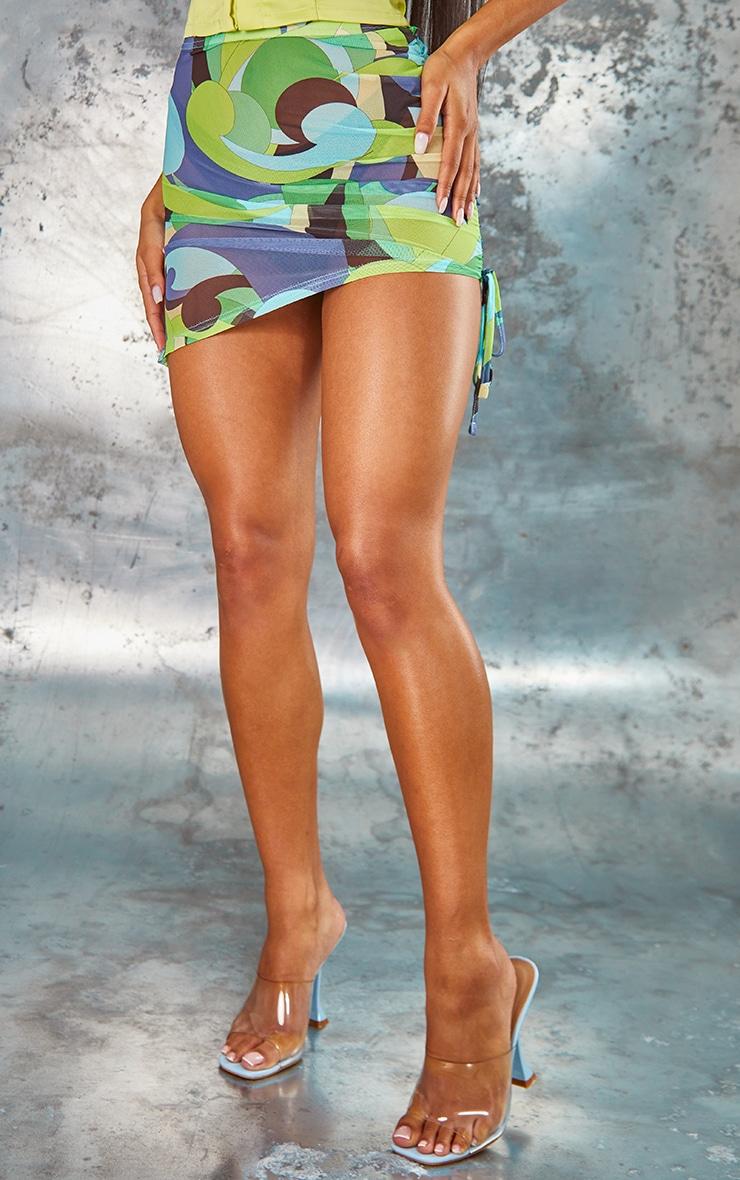 Lime Swirl Print Mesh Asymmetric Mini Skirt 2