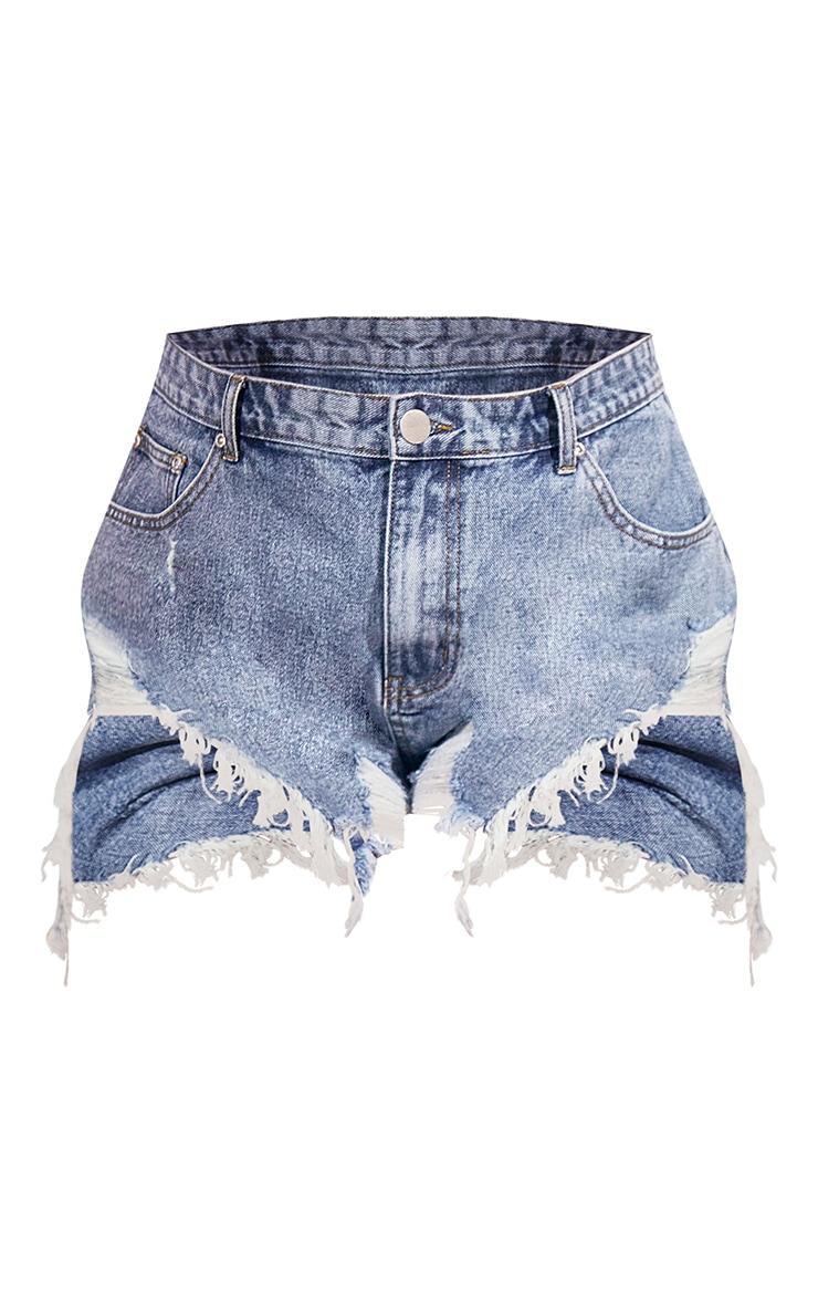 Plus Vintage Wash Extreme Thigh Rip Denim Shorts 6