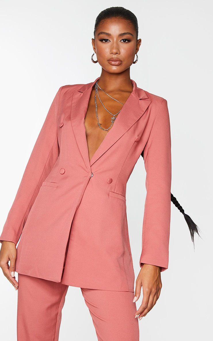 Deep Rose Double Breasted Woven Blazer 1