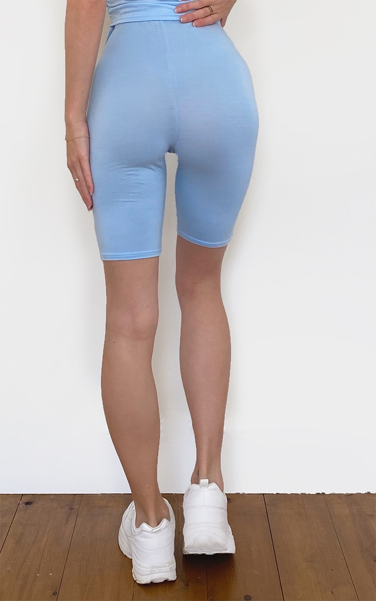 PRETTYLITTLETHING Sky Blue Embroidered Bike Shorts 3
