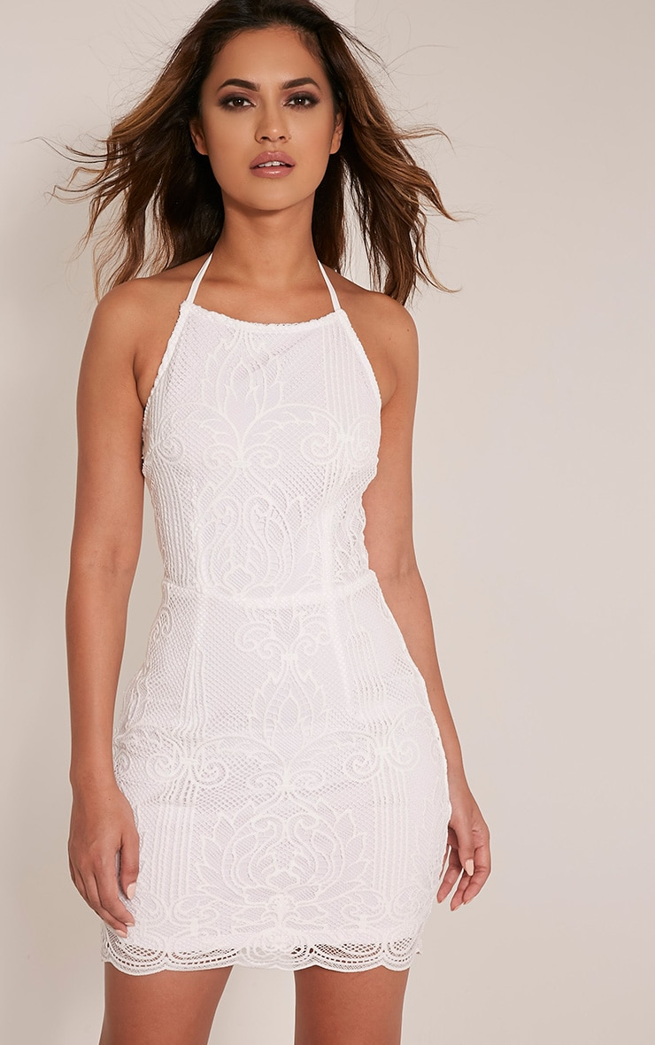 Sassia White Halterneck Strappy Back Lace Dress 1
