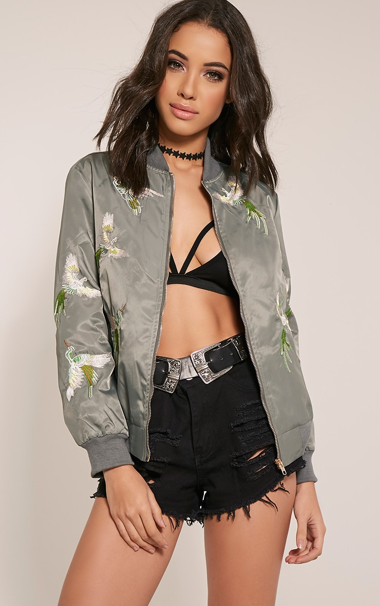 Pippah Grey Embroidered Detail Bomber Jacket 1