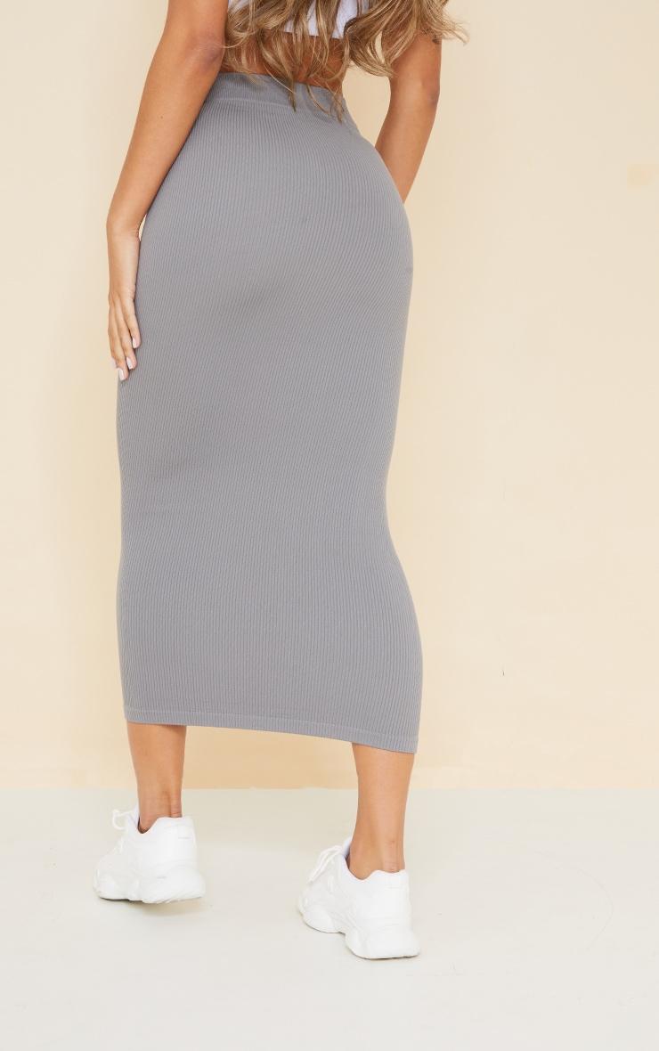 Dark Grey Structured Contour Rib Maxi Skirt 3