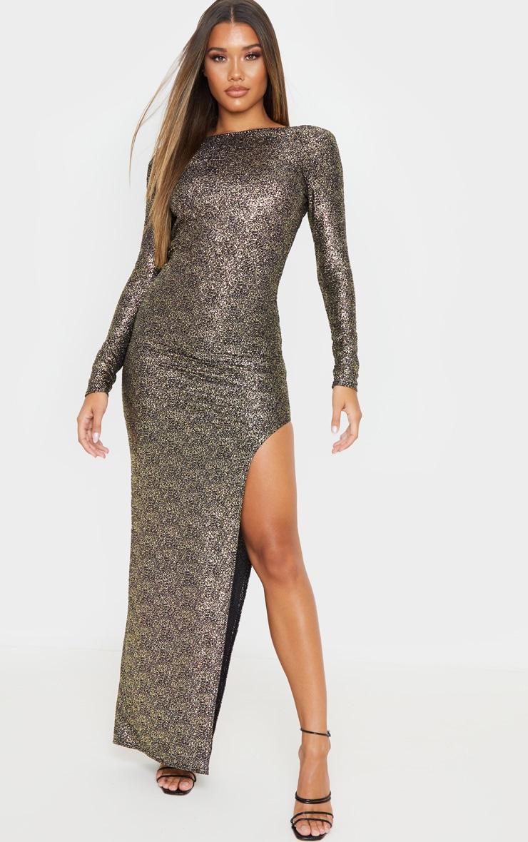 Gold Foil Backless Long Sleeve Maxi Dress 2
