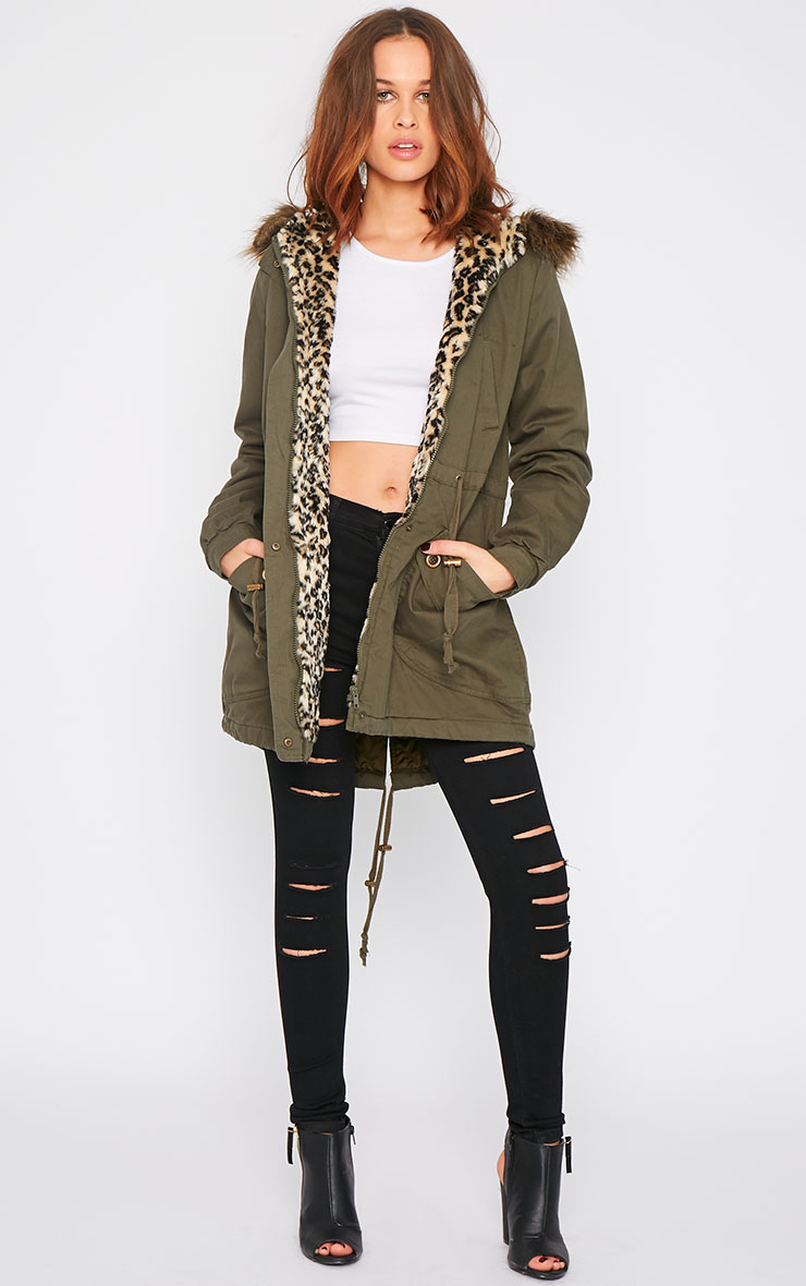 Bridget Khaki Coat With Leopard Lining 3