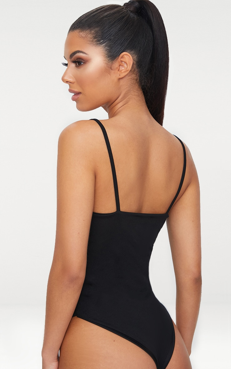 Black Ribbed Straight Neck Swimsuit 2