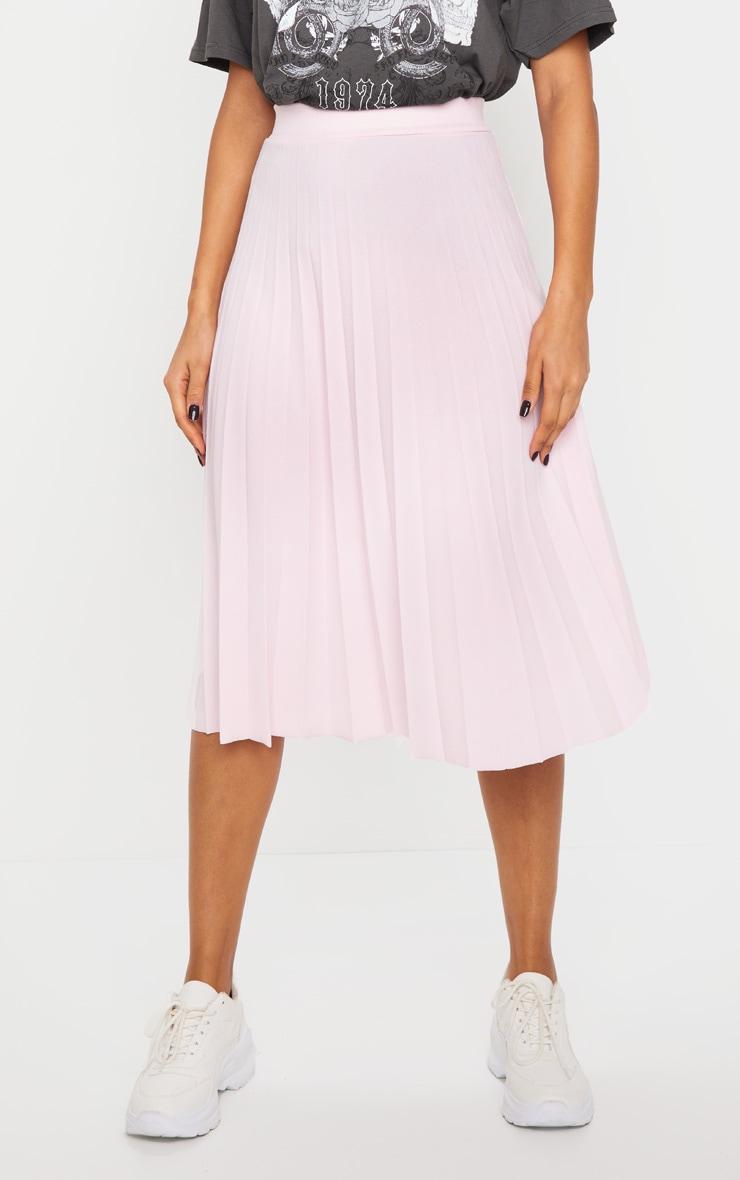Baby Pink Pleated Floaty Midi Skirt 2
