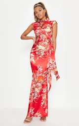 Red Oriental Print High Neck Extreme Split Maxi Dress 4