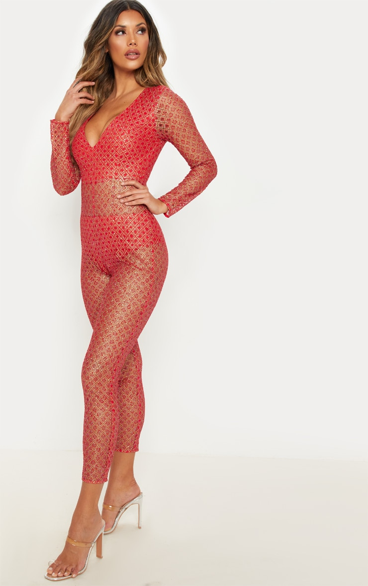 Red Glitter Sheer Plunge Jumpsuit 4