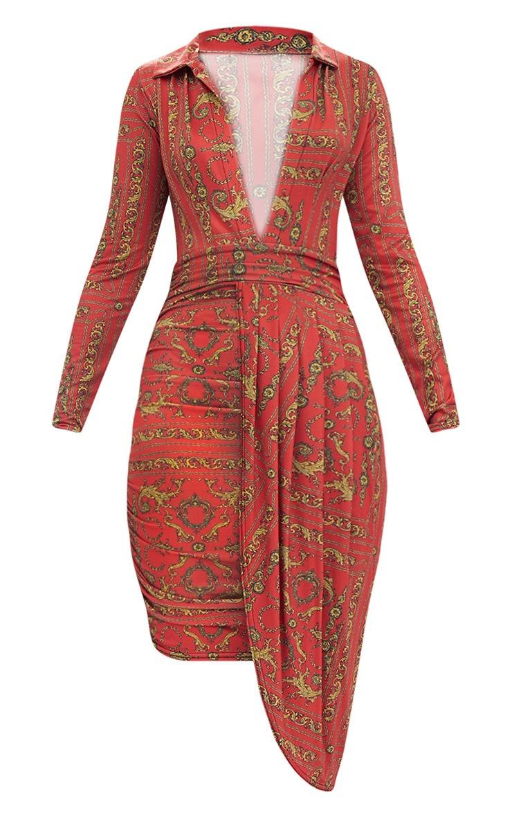 Orange Chain Print Long Sleeve Drape Front Plunge Bodycon Dress 3
