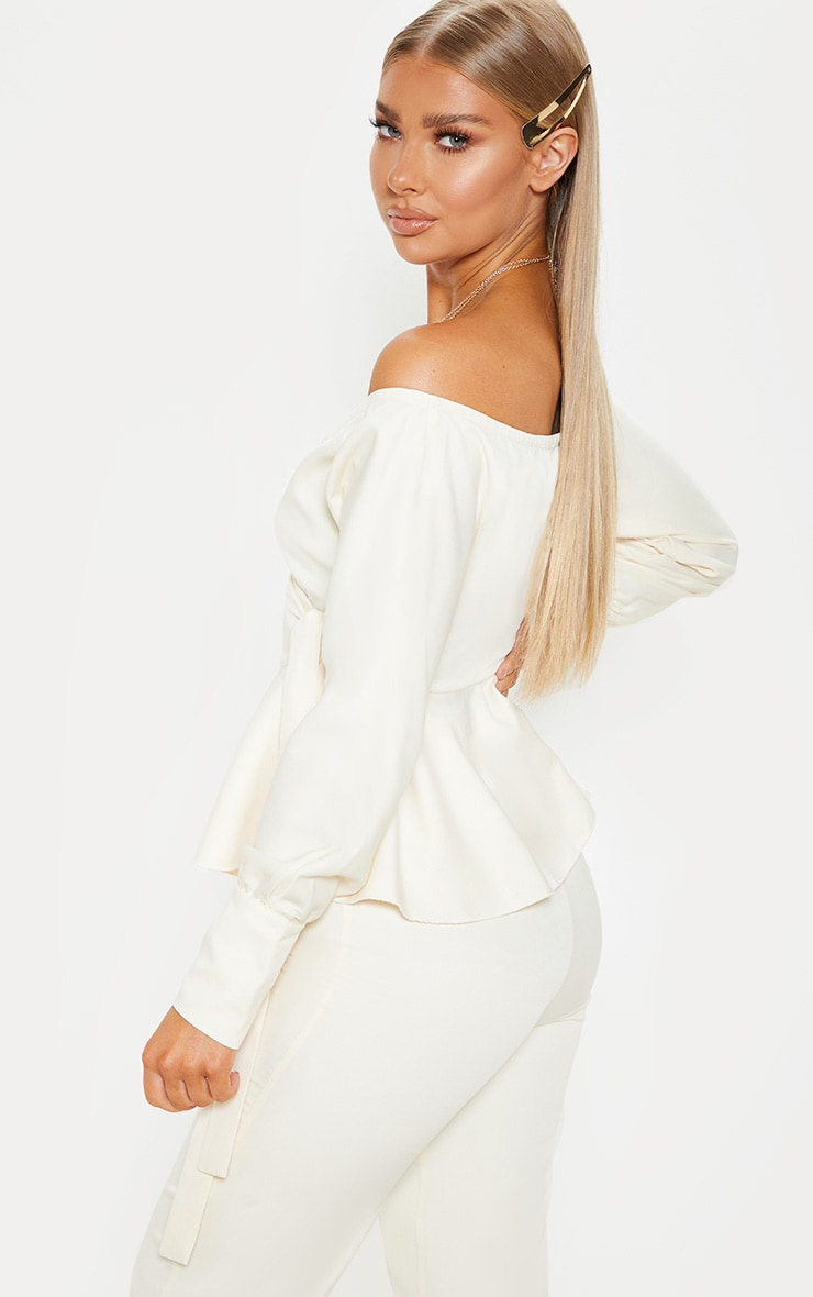 Cream Plunge Peplum Hem Long Sleeve Blouse 2