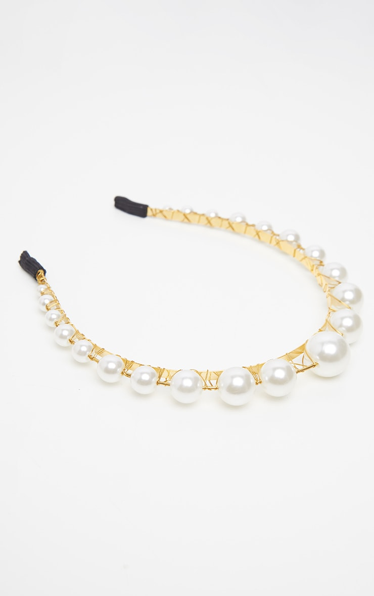 Gold Raised Pearl Headband 3