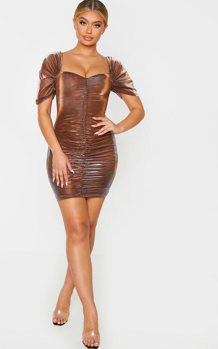 Bronze Iridescent Metallic Ruched Bodycon Dress 4