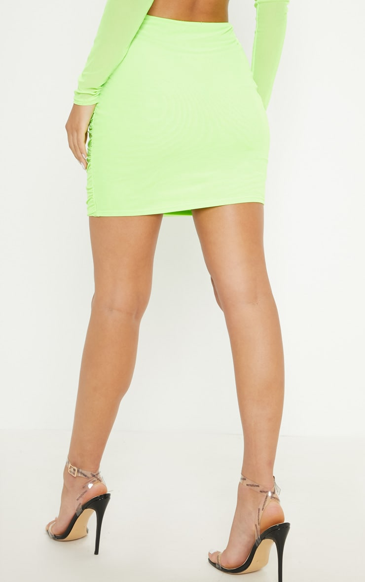 Neon Green Mesh Ruched Skirt 4