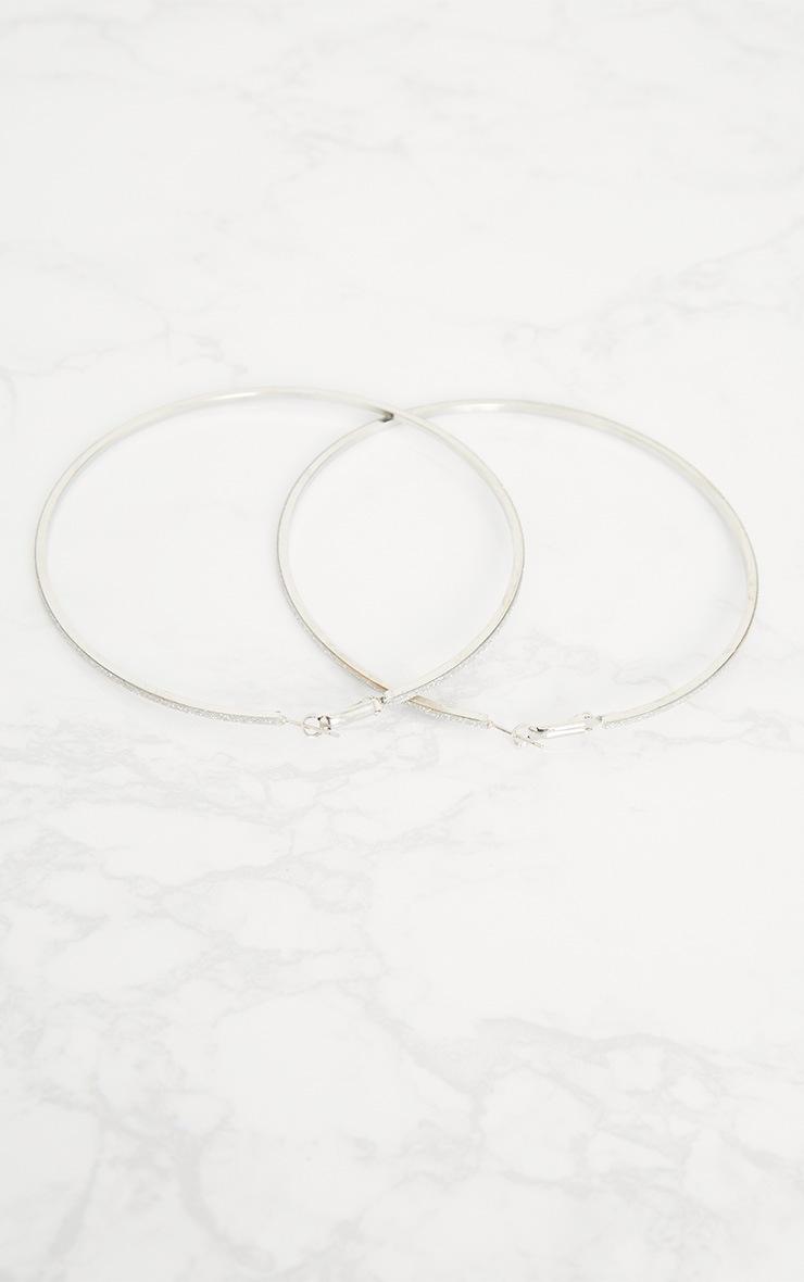 Silver Extra Large Glitter Hoop Earrings 5