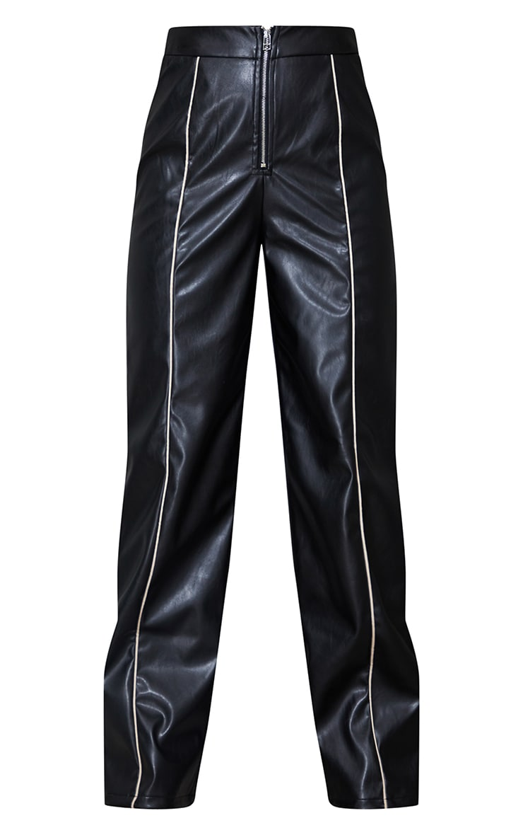 Petite Black Faux Leather Piping Detail Straight Leg Trousers 5