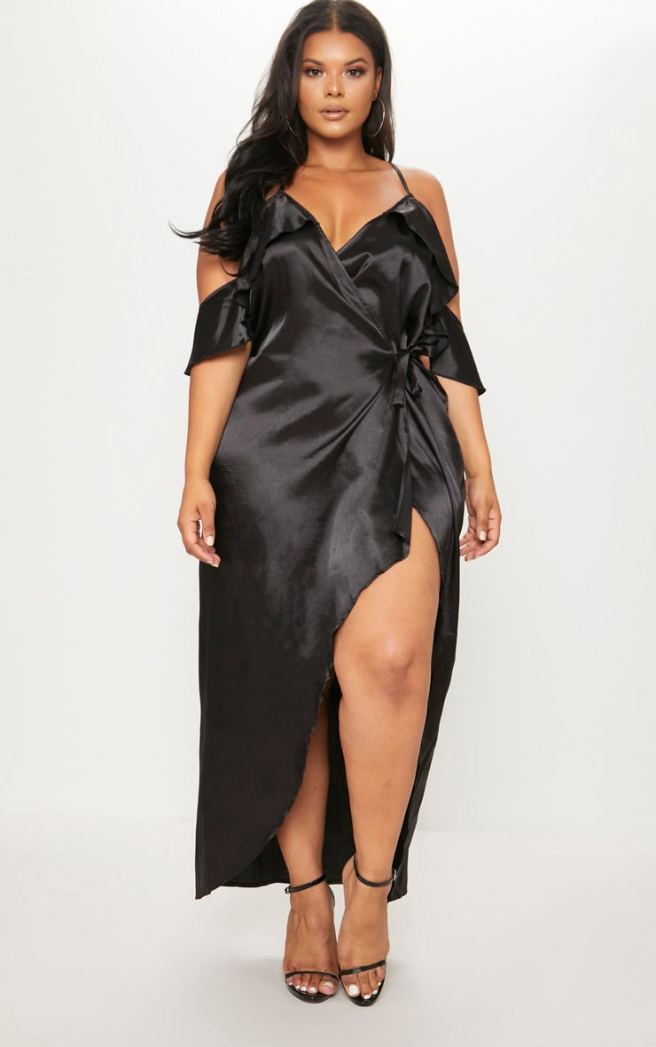 Plus Black Satin Frill Detail Wrap Maxi Dress 1