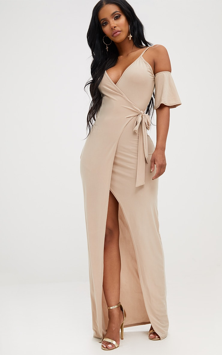 Shape Stone Slinky Wrap Front Maxi Dress 4