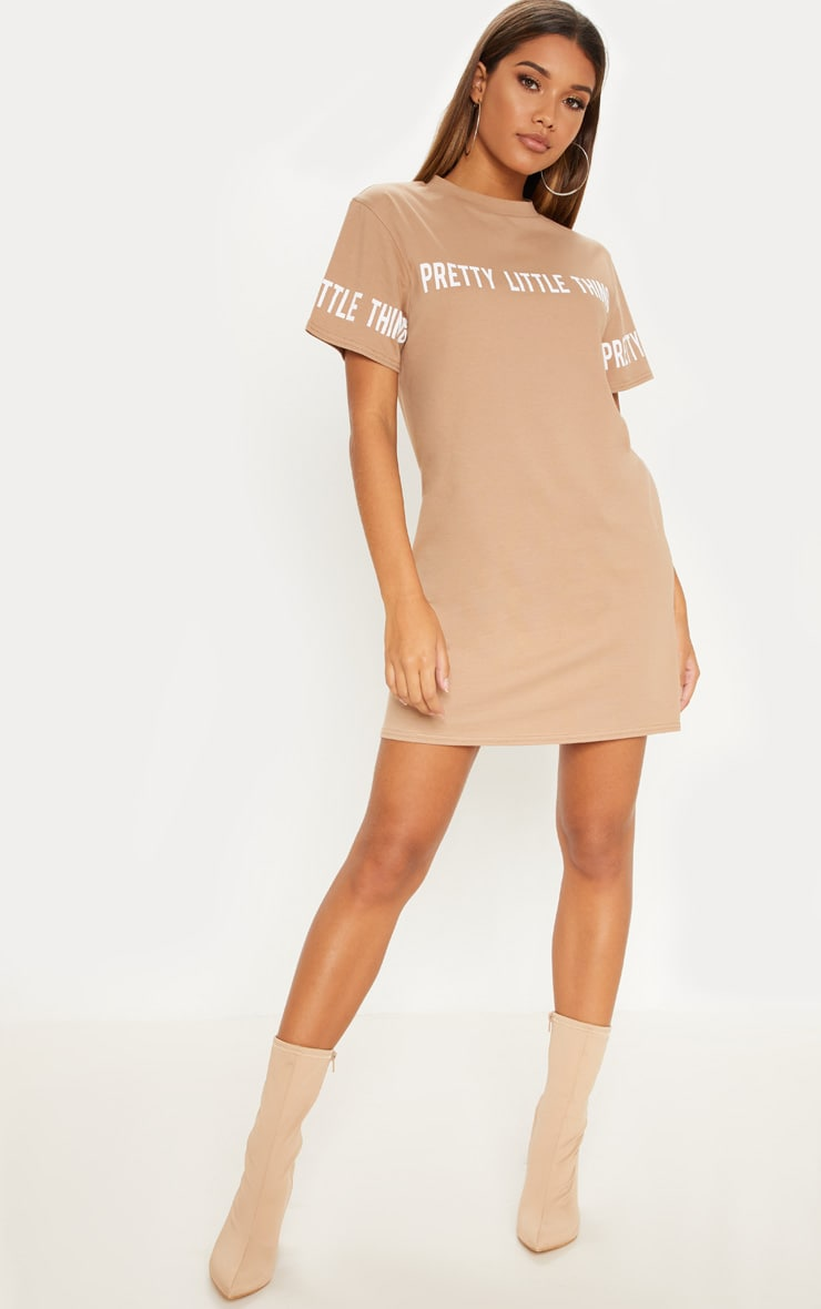 Prettylittlething Camel Slogan T Shirt Dress by Prettylittlething