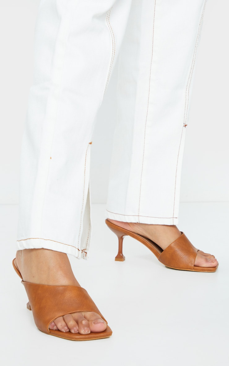 Tan Asymmetric Low Heel Mules 2
