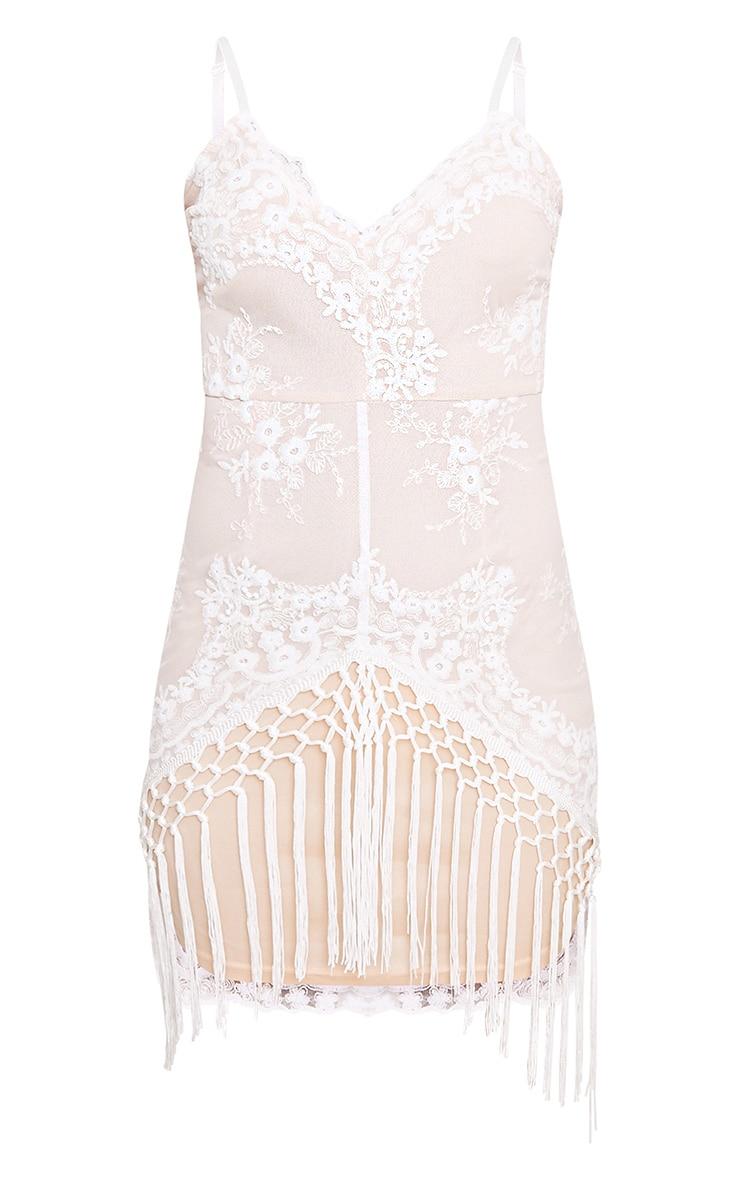 Danni White Lace Tassel Trim Bodycon Dress  3