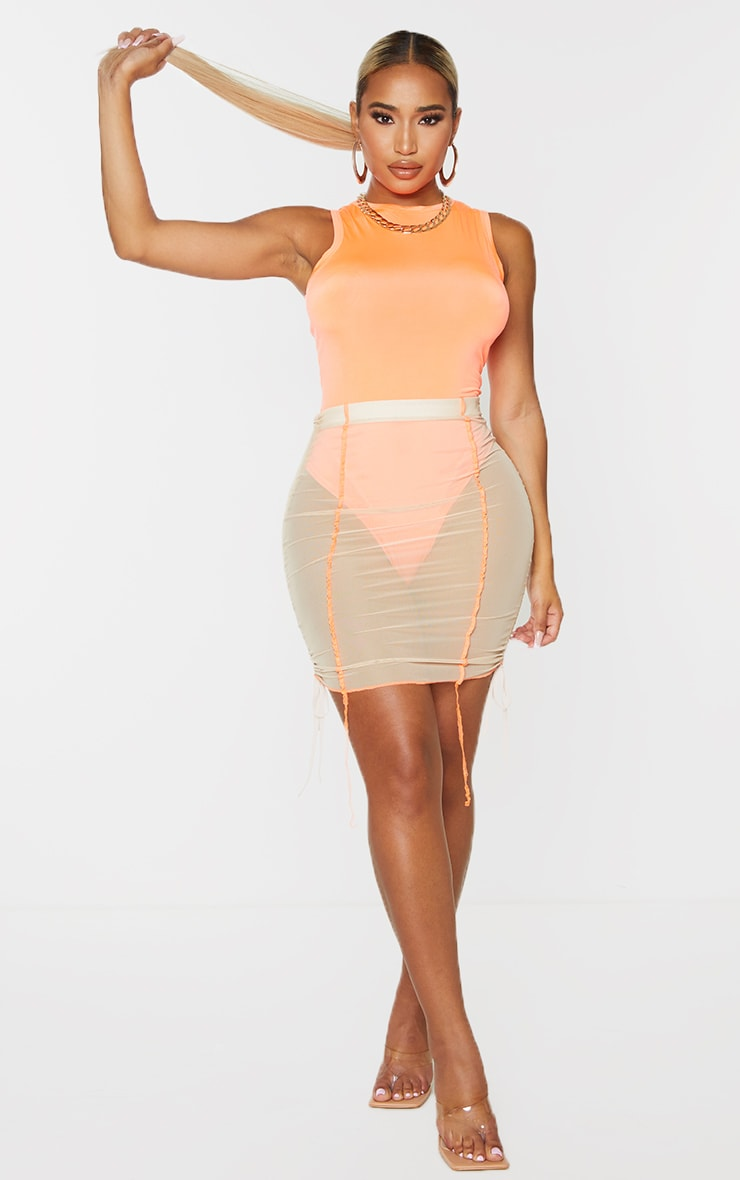 Shape - Body moulant orange vif sans manches 3