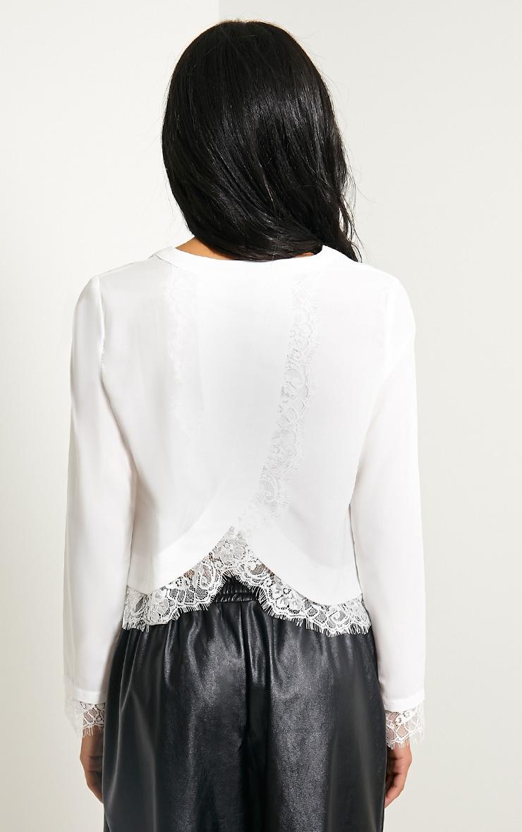 Katty White Lace Hem Wrap Back Top 2