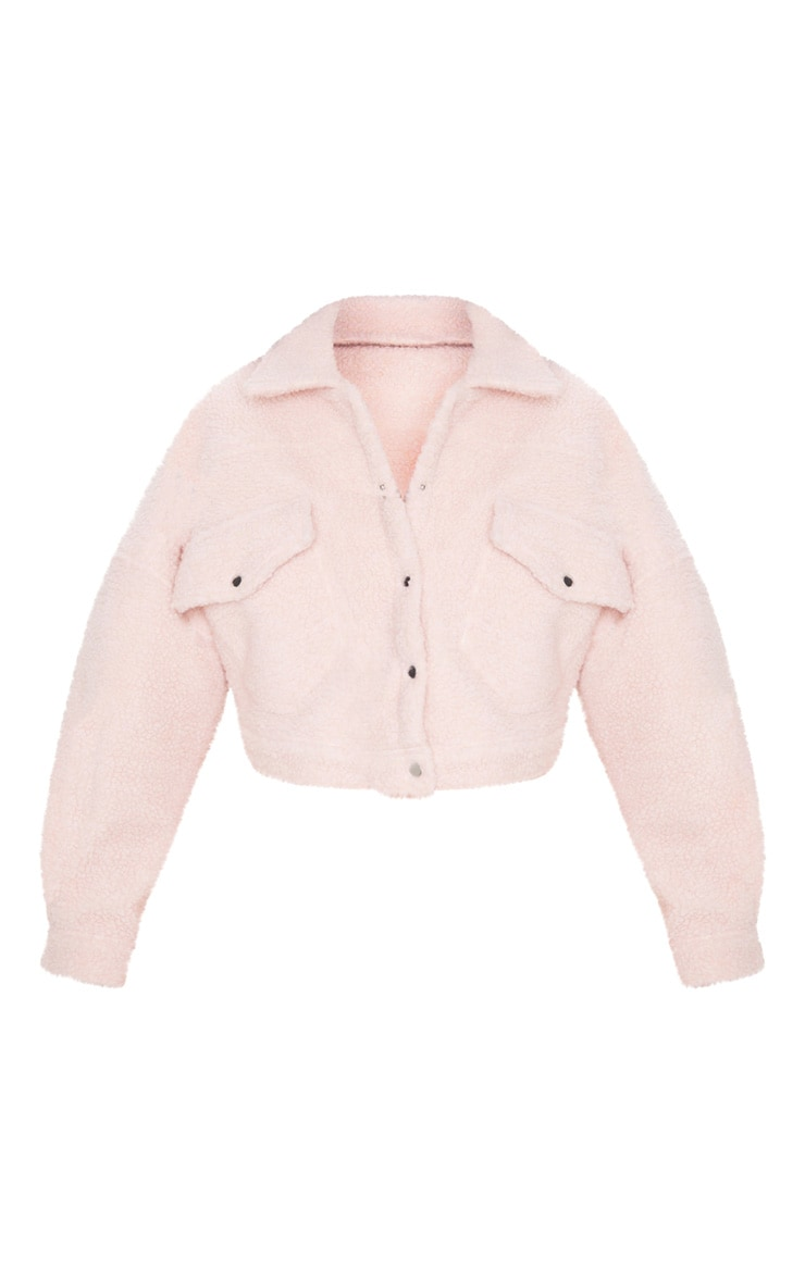 Blush Borg Cropped Trucker Jacket 4