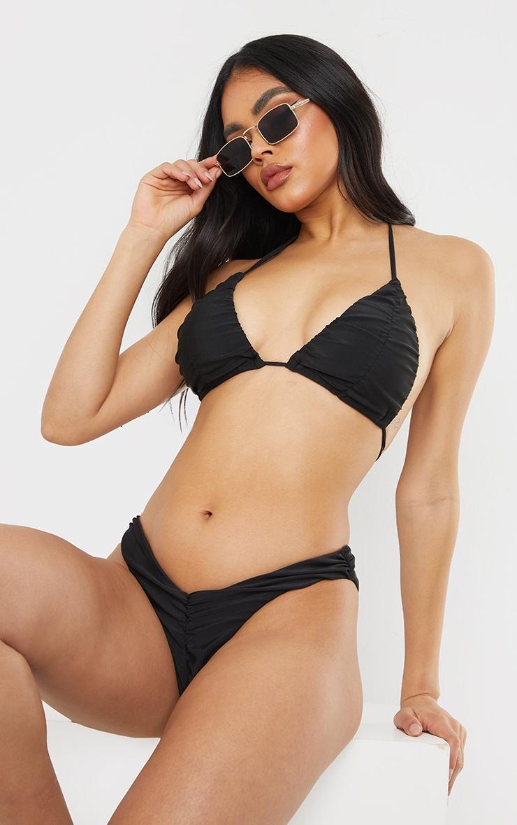 Black Ruched Cup Padded Triangle Bikini Top 1