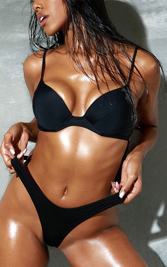 Black Push Up Cupped Bikini Top 1