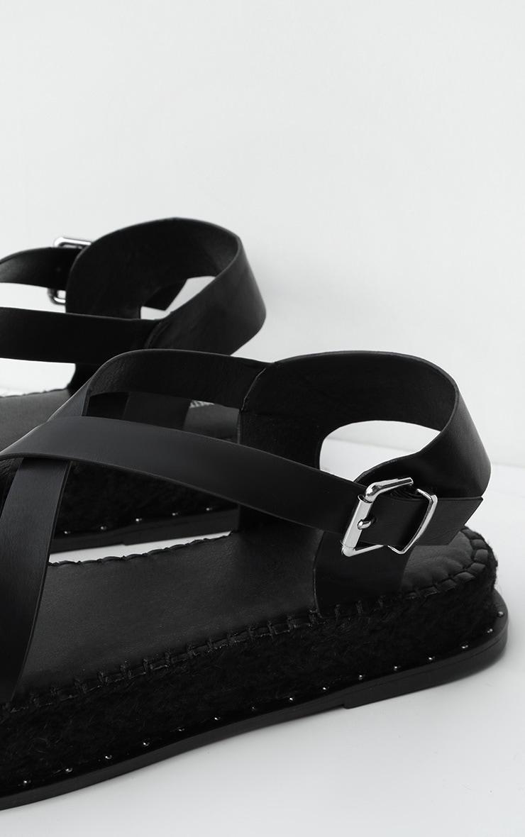 Black Studded Flatform Espadrille Toe Loop Sandals 3