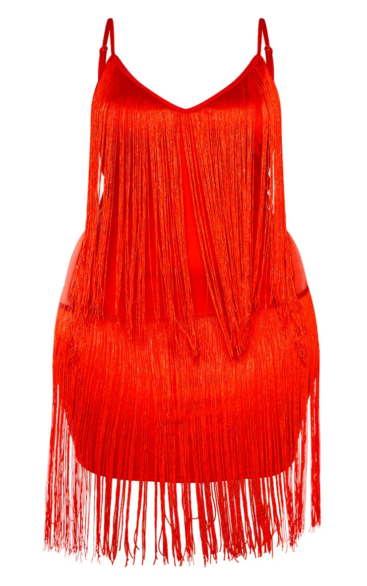 Plus Red Tassel Bodycon Dress 3