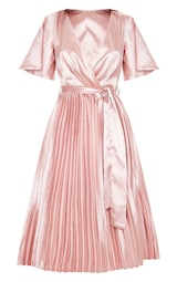 Mairee Dusty Pink Satin Pleated Midi Dress 3