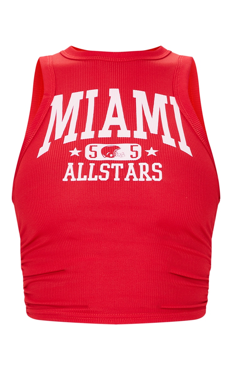 Red Miami Print Rib Ruched Side Vest Top 5