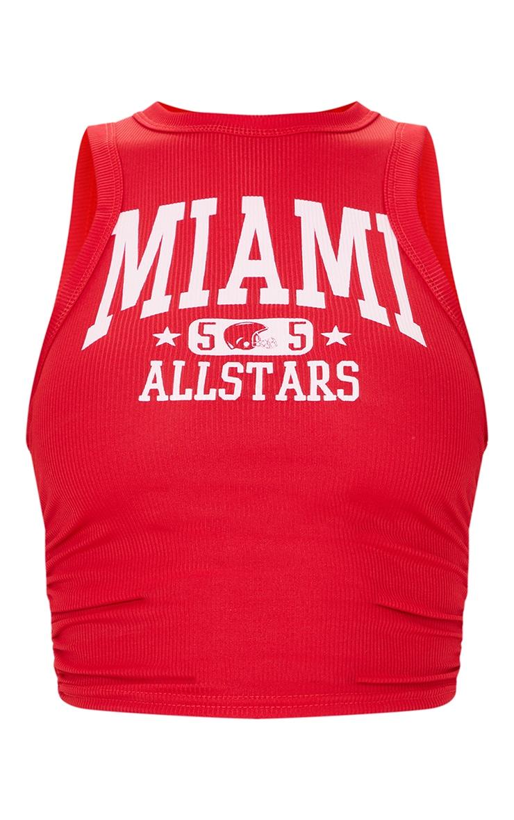 Débardeur côtelé rouge à imprimé Miami et côtés froncés 5