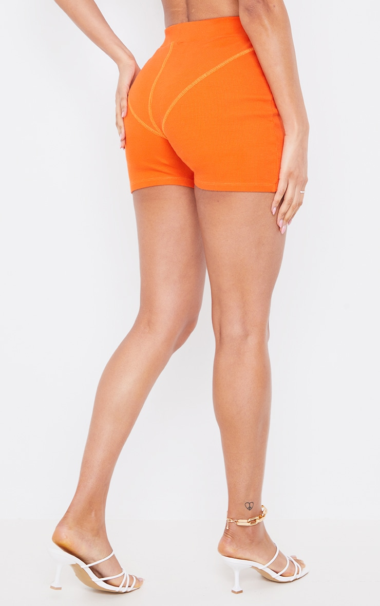 Orange Ribbed Seam Detail Shorts 3